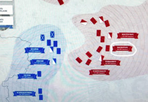 """Музей Армии, Париж. Выставка """"Стратегия Наполеона"""". Экран интерактивной игры - перед переправой через Березину."""